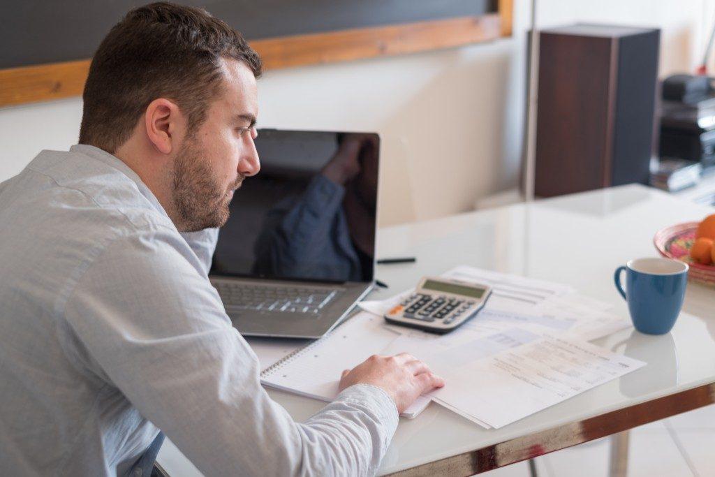 Businessman calculating