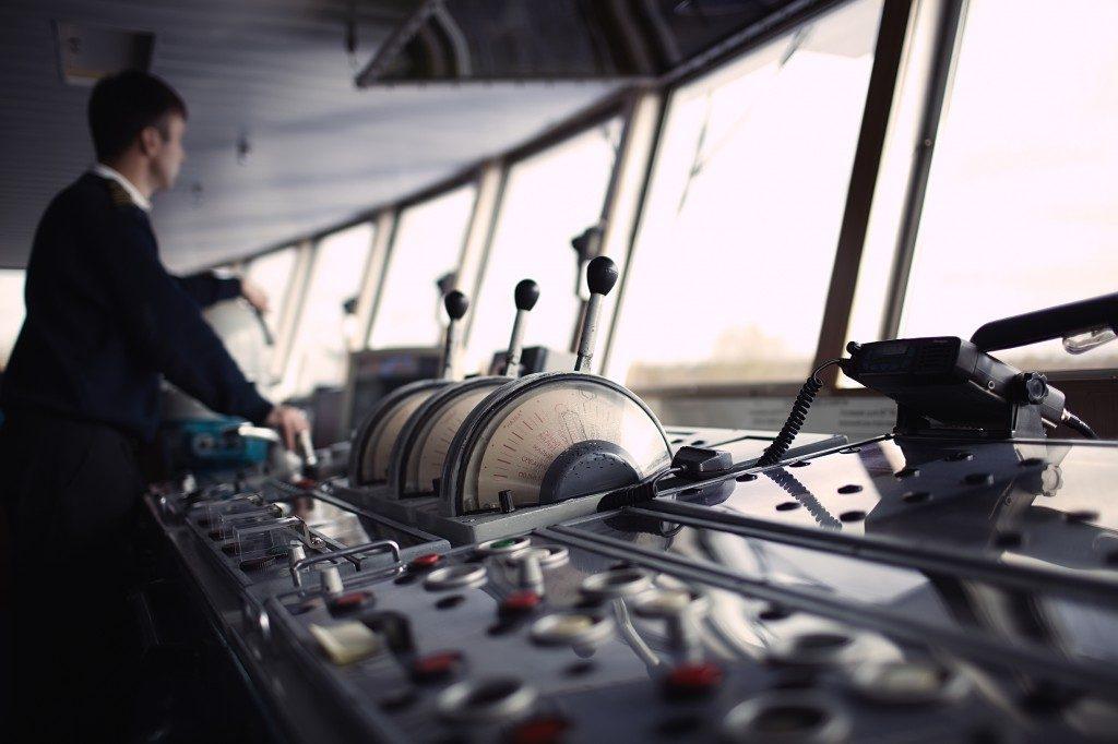 navigation officer driving a ship