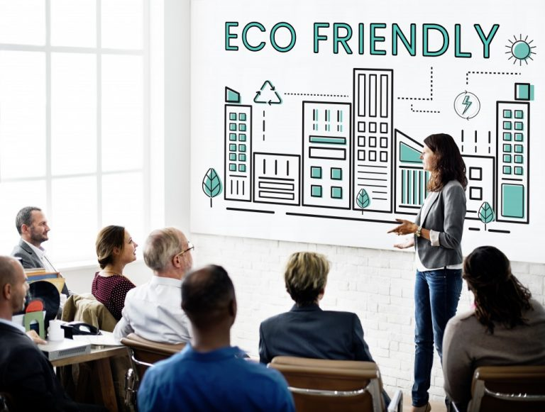woman talking about being eco friendly