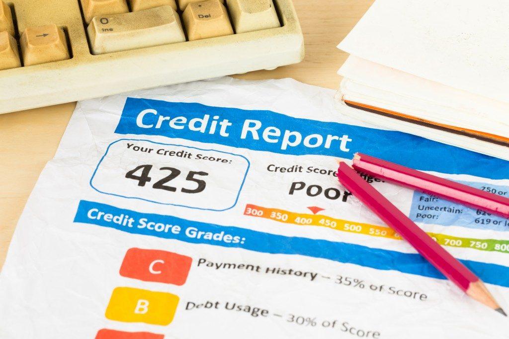 poor credit score on paper