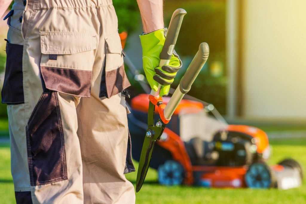 landscaping with shears and lawn mower