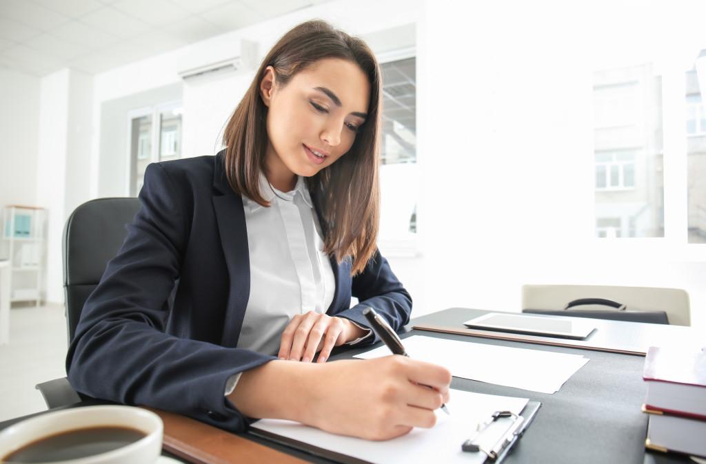 Female accountant working