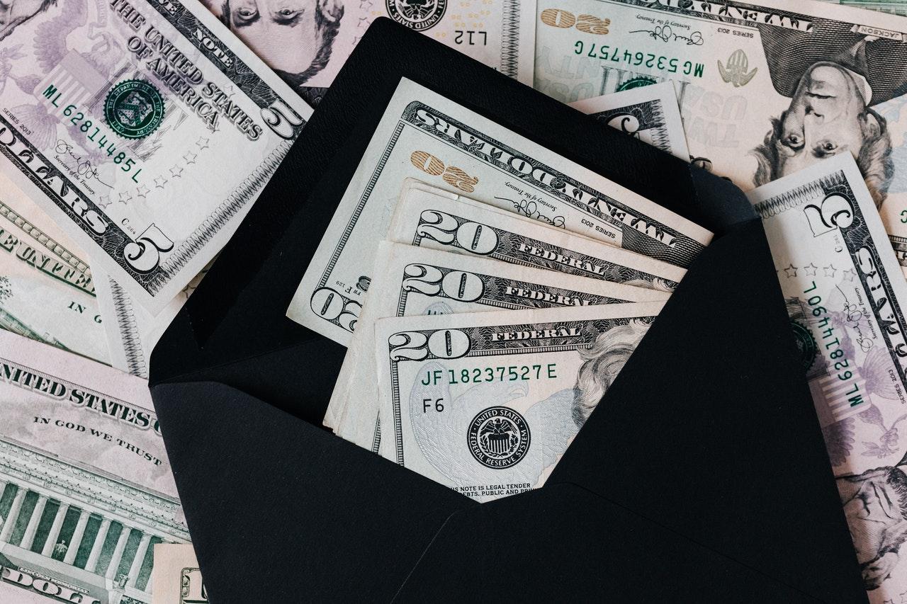 cash in a black envelope
