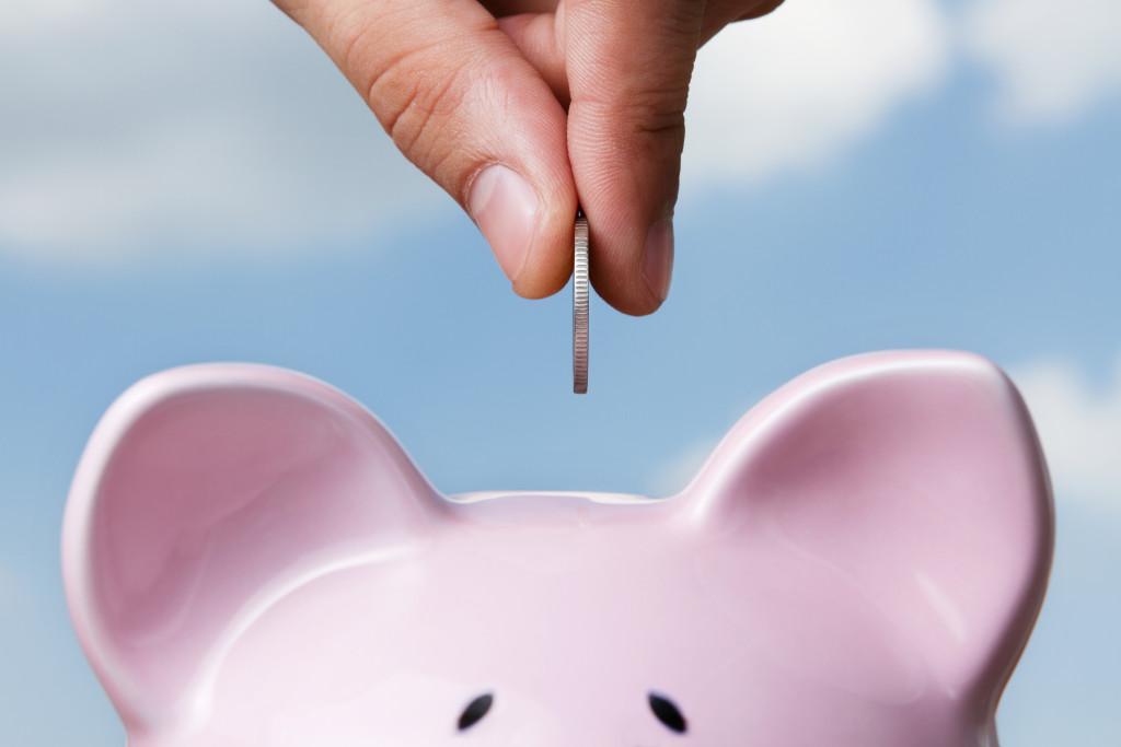 saving up in piggy bank